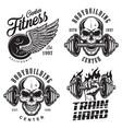set bodybuilding emblems vector image vector image