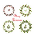 set christmas holly wreath vector image