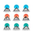 set mountain and sky logo template vector image