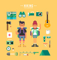 Set of Icons and in Flat Design Style Hiking vector image