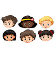 set of multicultural kids head vector image
