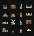 sixteen flat landmark icons vector image vector image
