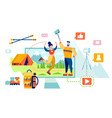 tourism video blog on youtube hiking and camping vector image vector image
