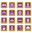 train railroad icons set purple square vector image vector image