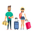 travelling people waiting for airplane or train vector image vector image