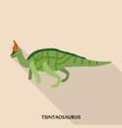 tsintaosaurus icon flat style vector image vector image