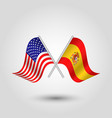 two crossed american and spanish flags vector image vector image