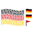 waving germany flag mosaic of triangle flag items vector image