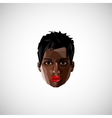with a black female face in polygonal style vector image