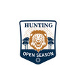 hunting season badge of lion head with target vector image