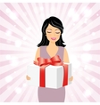 Smiling girl with gift box vector image