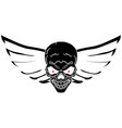 symbolic biker sign - a skull with wings black vector image