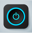 Black rounded square icon with power button vector image