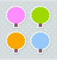4 stickers stylized as trees with scalloped edges vector image