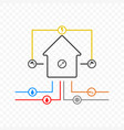 a minimalistic of a house with communications vector image vector image