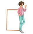 A young boy waving vector image vector image