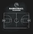 basketball court floor vintage hand drawn vector image