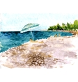 beach with people and parasol vector image