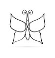 black line butterfly icon kids drawing style vector image vector image