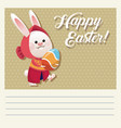 cartoon happy easter girl bunny egg vector image vector image