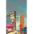 cartoon of a night city vector image vector image