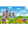 cartoon of castle on hill landscape vector image