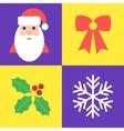 Christmas holiday symbols - santa bow holly and vector image vector image