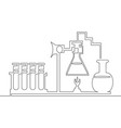 continuous line chemical lab retorts vector image vector image