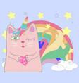cute cat unicorn with rainbow and slogan hand vector image