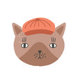 cute funny face or head cat wearing cap or hat vector image