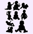 cute little baby silhouette style vector image