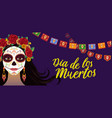 day dead colorful banner with girl vector image