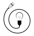 electric incandescent lamp with wire and plug vector image vector image