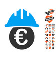 euro under safety helmet icon with dating bonus vector image vector image