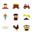 farmer icons set flat style vector image vector image