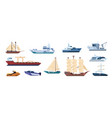 flat ships sailing yachts marine sailboats and vector image