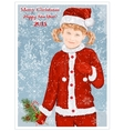 Girl in Santa Claus clothes vector image vector image