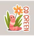 go green tagline sticker cartoon vector image vector image