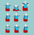 grandmother set poses and motion grandma happy vector image vector image