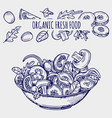 hand drawn salad bowl and vegetables healthy food vector image vector image