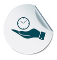 hand holding a clock Icon watch symbol time vector image