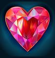 heart cut gemstone shape on blue background vector image
