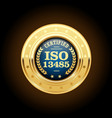 Iso 13485 standard medal - medical devices vector image
