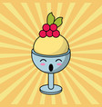 kawaii ice cream glass cup image vector image