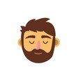 man head with closed eyes and hairstyle vector image vector image