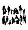 mother with son silhouettes vector image vector image