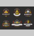 oktoberfest badges and labels set vintage vector image vector image