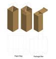 paper bag packaging die-cut and 3d bag mockup vector image