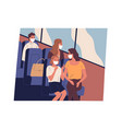 people in face masks commuting or traveling bus vector image