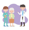physician nurse and grandmother characters vector image